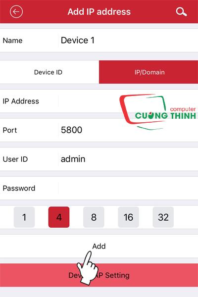 Xem bằng địa chỉ IP đầu ghi hình