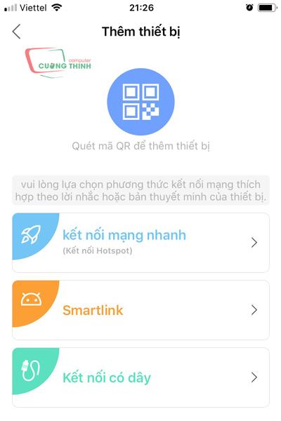 Chọn Smartlink để kết nối thiết bị bằng WiFi
