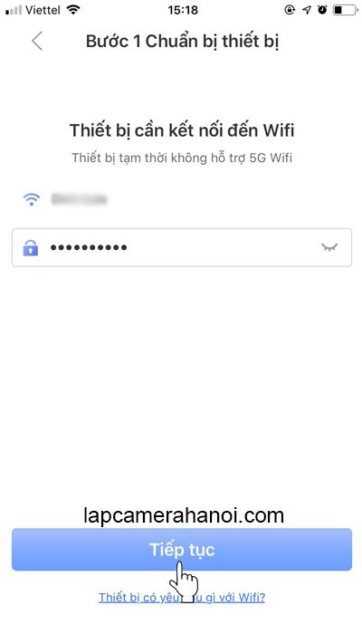Nhập mật khẩu WiFi và chọn Tiếp tục