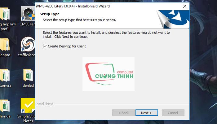 Tích vào ô Create Desktop for Client sau đó chọn Next