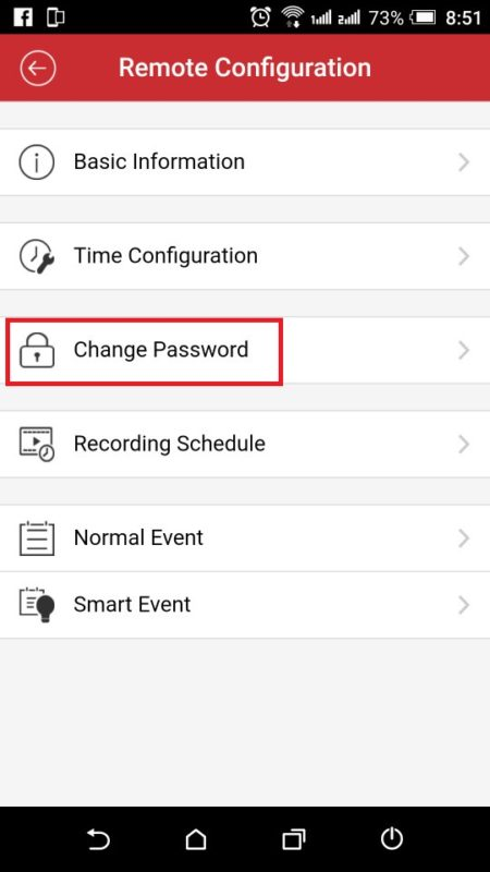 Vào Change Password