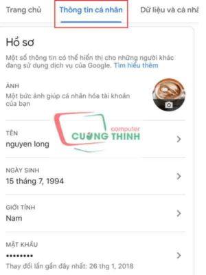 Lựa chọn Mật khẩu trong menu Thông tin cá nhân