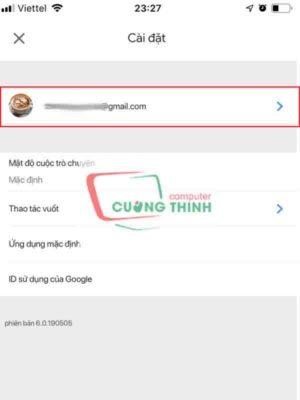 Nhấp vào tên tài khoản Gmail