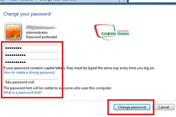 Điền thông tin thay đổi mật khẩu