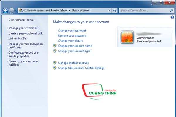 Cửa sổ User acounts
