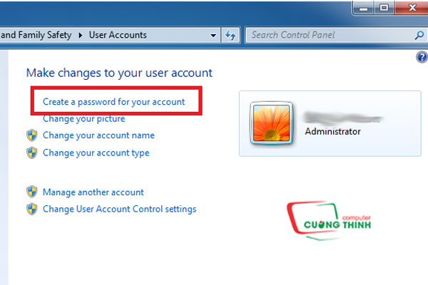Chọn Create a password for your account để tạo mật khẩu