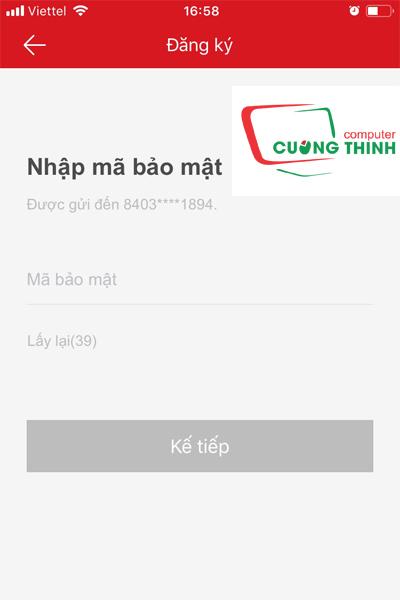 Dùng số điện thoại đăng ký tài khoản