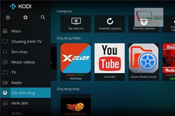 Phần mềm xem tivi Kodi