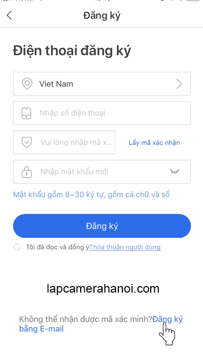 Chọn đăng ký bằng E Mail