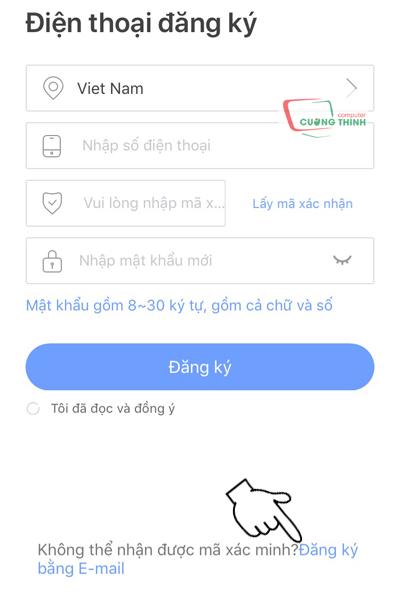 Chọn đăng ký tài khoản bằng gmail