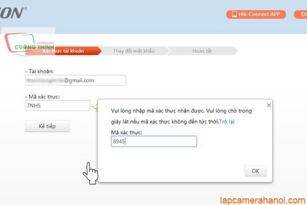 Nhập mã xác thực lấy từ tài khoản Gmail
