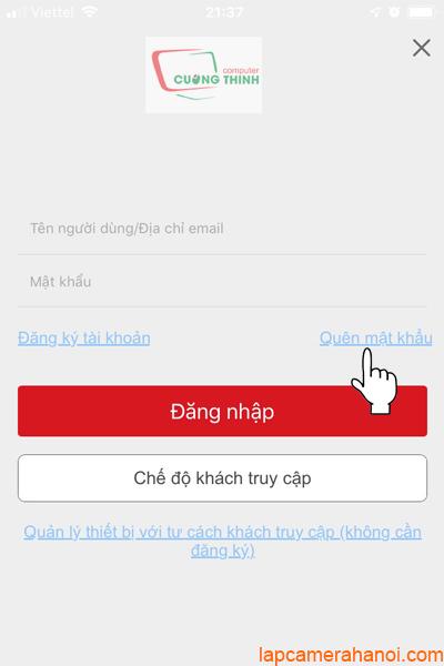 Tại giao diện đăng nhập chọn Quên mật khẩu