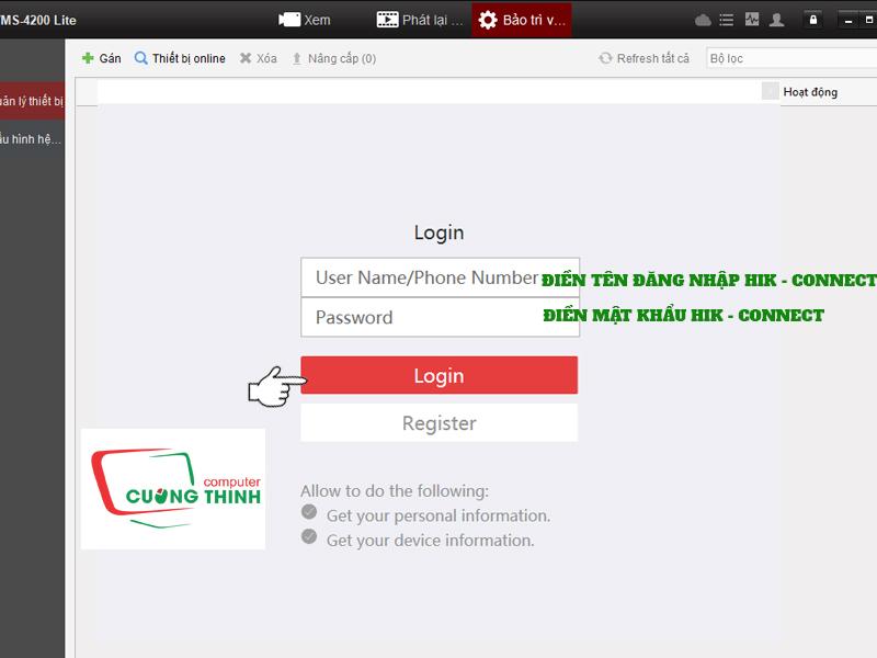 Tiến hành đăng nhập tài khoản Hk connect của bạn