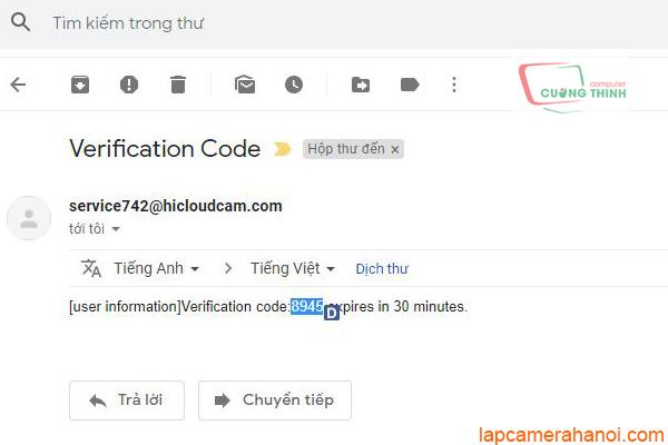 Truy cập vào gmail nhận mã xác thực