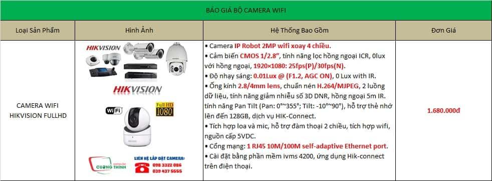 Báo giá bộ camera IP Wifi Hikvision