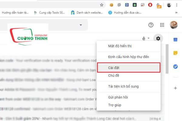 Vào cài đặt tài khoản gmail 01
