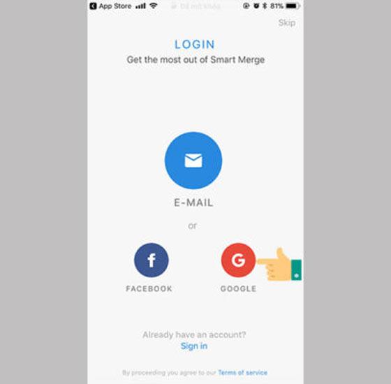 Đăng nhập ứng dụng bằng Gmail hoặc Facebook