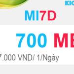 Đăng ký MI7D Viettel có 700mb với 7K dùng 1 ngày