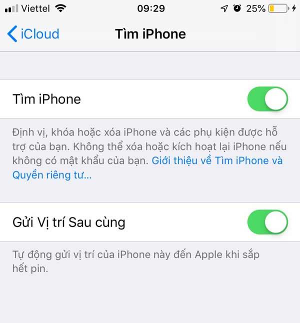 Gạt tắt tính năng Tìm iPhone