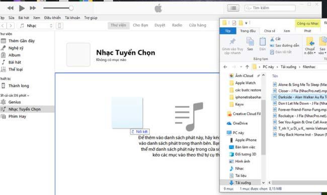 Kéo một hoặc nhiều bài nhạc bạn cần chép vào iPhone