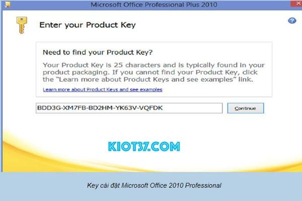 Key kích hoạt Office 2010
