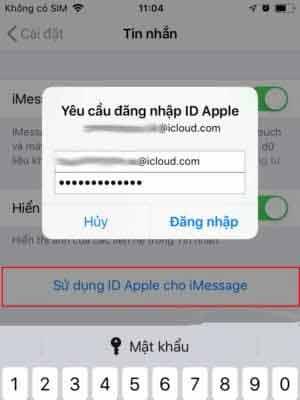 Nhập địa chỉ Apple ID và Password