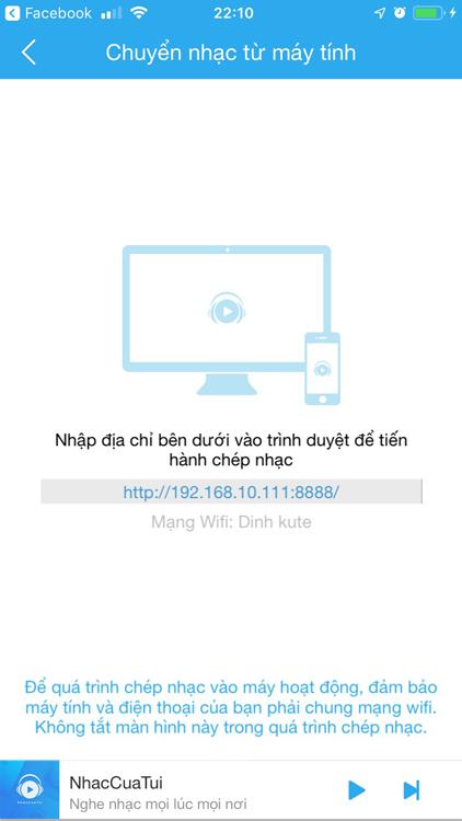 Nhập địa chỉ hiển thị trên ứng dụng vào trình duyệt web