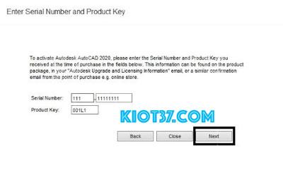 Prosuct Key là 001L1 rồi nhấn Next