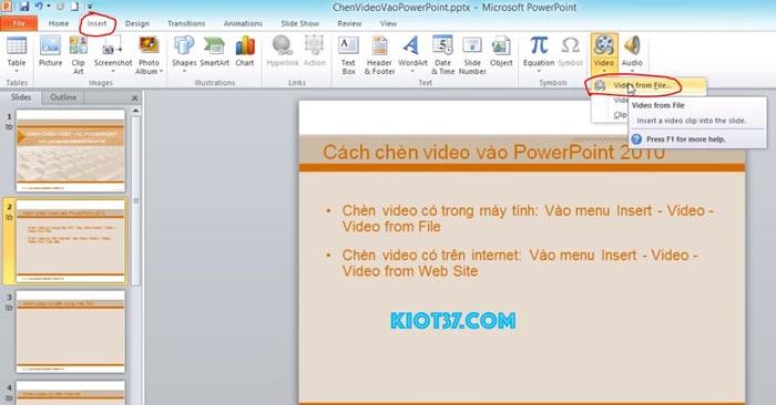 Cách chèn video vào ppt 2010