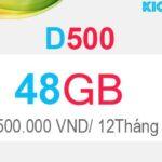 Đăng ký D500 Viettel có 48GB Dcom 4G trong 12 tháng