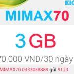 Đăng ký MIMAX70 Viettel có 3GB data 4G chỉ 70k/tháng 2020