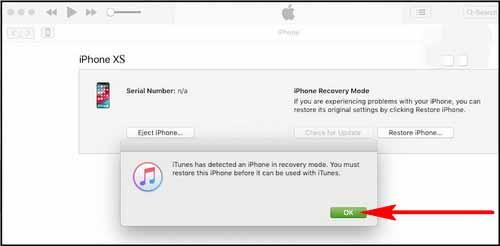 iTunes sẽ xuất hiện một thông báo là chiếc điện thoại của bạn bị vô hiệu hóa