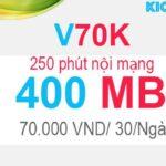 Đăng ký V70K Viettel có 400MB với 70K, 250 phút