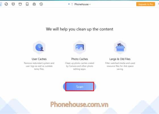 Chọn Scan để ứng dụng quét qua iPhone