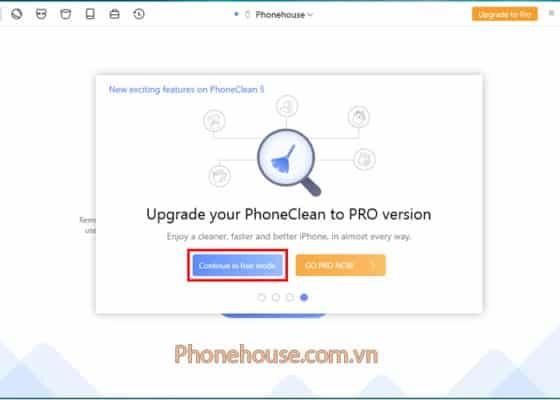 Kết nối iPhone với PC sau đó chọn dùng miễn phí