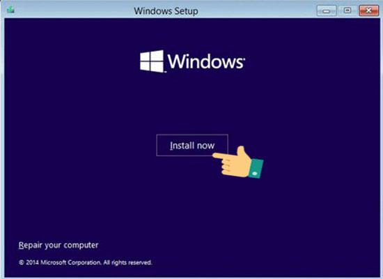Nhấn Install để chuyển sang bước thiết lập cài đặt Windows 10