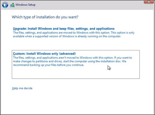 Chọn vào Custom Install Windows only advanced