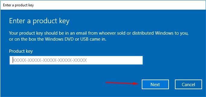 dán vào ô Product key và nhấn Next