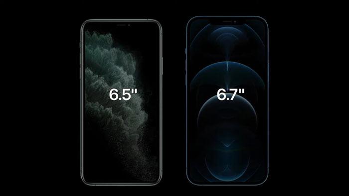 iPhone 12 series có kích thước đa dạng, nổi trội nhất là iPhone Pro Max với kích thước 6.7inch