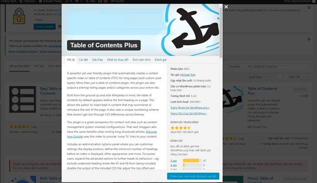 Cài đặt Plugin Table of Contents Plus