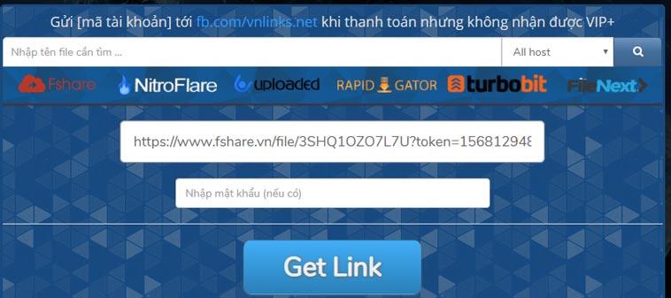 Cách thực hiện get link 4share tại Website Fshare miễn phí