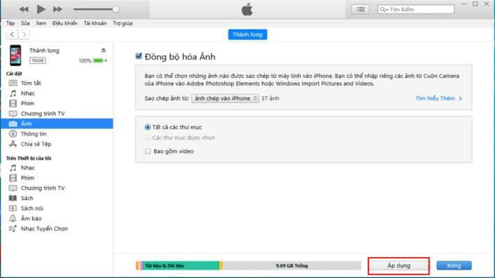 Chọn Áp dụng để chép nhạc vào iPhone của mình