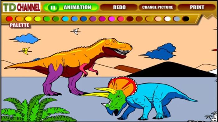 Game tô màu khủng long
