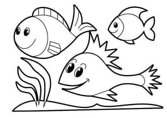 Hình tô màu đàn cá đang bơi