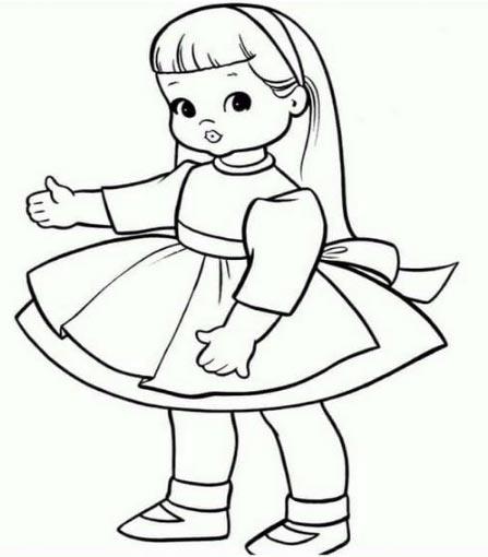 Hình tô màu bé gái