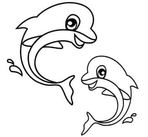 Hình tô màu cá voi mẹ và cá voi con
