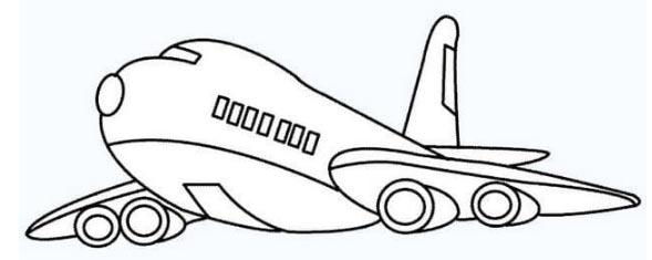 Hình tô màu chiếc máy bay đang bay