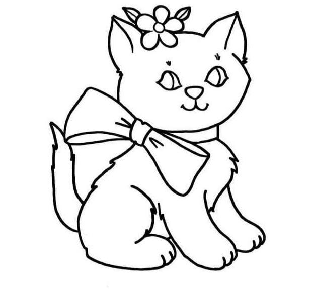 Hình tô màu con mèo dễ thương