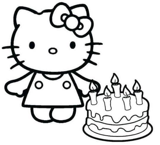 Hình tô màu mèo Kitty, bánh sinh nhật cho bé gái