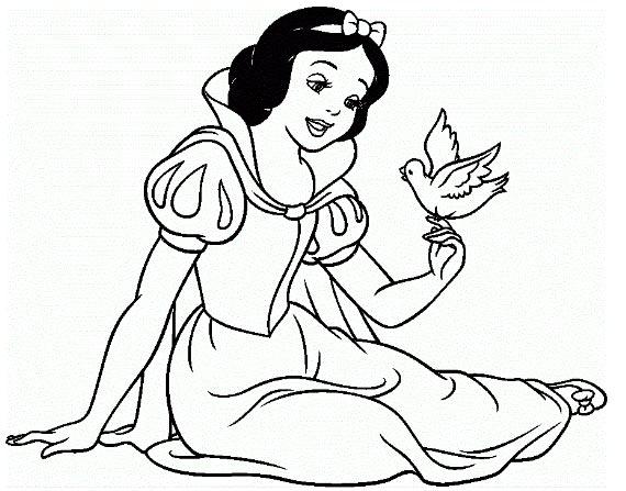 Hình tô màu nàng bạch tuyết và chú chim nhỏ